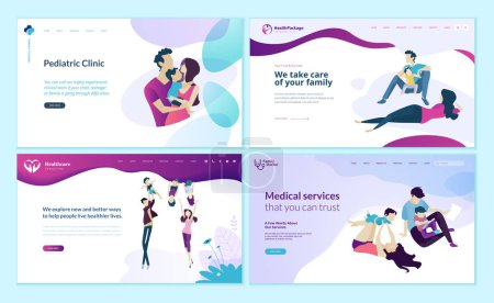 Illustration for Set of web page design templates for family doctor, pediatric clinic, healthy life. Modern vector illustration concepts for website and mobile website development. - Royalty Free Image