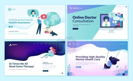 Illustration for Set of web page design templates for medicine, health insurance, therapy,  online medical services. Modern vector illustration concepts for website and mobile website development. - Royalty Free Image