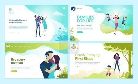 Illustration for Set of web page design templates for happy family, family vacation, baby care. Modern vector illustration concepts for website and mobile website development. - Royalty Free Image