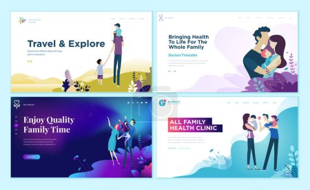 Illustration for Set of web page design templates for family health care, travel and enjoying family activities. Modern vector illustration concepts for website and mobile website development. - Royalty Free Image