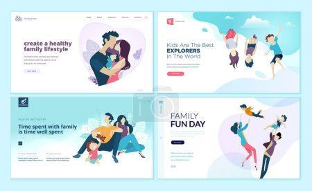 Illustration for Set of web page design templates for family fun and entertainment, children's activities, healthy and safe environment for the family. Modern vector illustration concepts for website and mobile website development. - Royalty Free Image