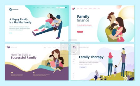 Illustration for Set of web page design templates for family finance, health care, family therapy. Modern vector illustration concepts for website and mobile website development. - Royalty Free Image