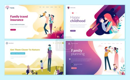 Illustration for Set of web page design templates for family planning, travel insurance, nature and healthy life. Modern vector illustration concepts for website and mobile website development. - Royalty Free Image
