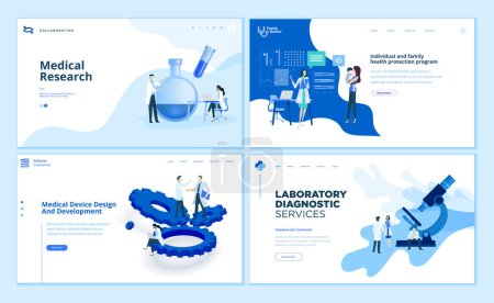 Illustration for Web page design templates collection of medical research, laboratory diagnostic, medical device development, family health protection program. Modern vector illustration concepts for website and mobile website development. - Royalty Free Image