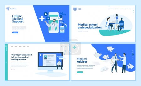 Illustration for Web page design templates collection of online medical support, medical school and specialization, medical advisor. Modern vector illustration concepts for website and mobile website development. - Royalty Free Image