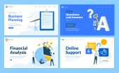 Set of flat design web page templates of business planning financial analysis online support questions and answers Modern vector illustration concepts for website and mobile website development
