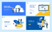 Set of flat design web page templates of business apps research and development home cloud solution kids apps Modern vector illustration concepts for website and mobile website development