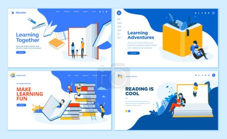 Illustration for Set of flat design web page templates of school, e-learning, book store, educated services. Modern vector illustration concepts for website and mobile website development. - Royalty Free Image