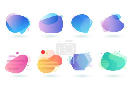 Illustration for Set of abstract graphic design elements. Vector illustrations for logo design, website development, flyer and presentation, background, cover design, isolated on white. - Royalty Free Image