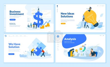 Illustration for Web page design templates collection of business solution and analysis, startup, innovative ideas, investment. Flat design vector illustration concepts for website and mobile website development. - Royalty Free Image