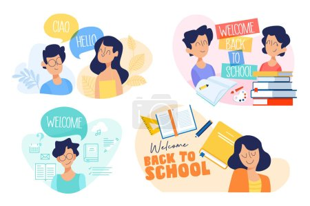 Illustration for Flat design concept of education, back to school, language courses. Vector illustration for website banner, marketing material, presentation template, online advertising. - Royalty Free Image