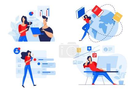 Photo pour Concept de conception plate de l'éducation du personnel, formation et cours, éducation en ligne. Illustration vectorielle pour bannière de site Web, matériel de marketing, modèle de présentation, publicité en ligne . - image libre de droit