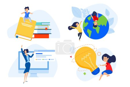 Illustration for Flat design concept of distance school and education, knowledge and creativity. Vector illustration for website banner, marketing material, presentation template, online advertising. - Royalty Free Image