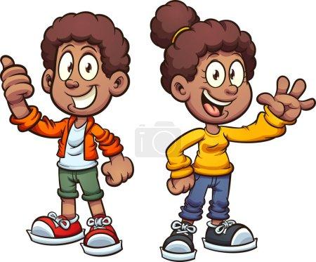 Illustration pour Joyeux dessins animés noirs enfants saluant. Illustration de clip art vectoriel avec des dégradés simples. Chacun sur un calque séparé . - image libre de droit