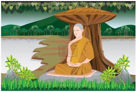 Illustration for One monk meditation under the tree vector design - Royalty Free Image