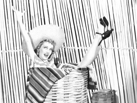 Woman stuck in a basket