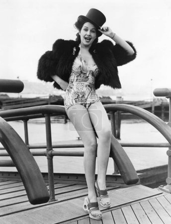 Woman saying bon voyage in a unique outfit...