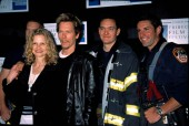Kyra Sedgwick and Kevin Bacon with members of Engine Company 10 at the Tribeca Film Festival,  5/10/2002, NY, by CJ Contino