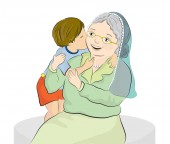 Vector illustration of a grandmother and her little grandson
