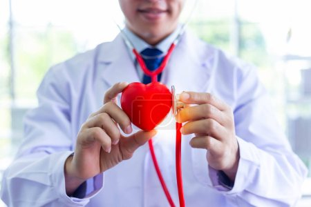 Photo for Doctor is holding heart and using stethoscope for examining fake heart at hospital room. Doctor who wants telling everyone take care their health by exercise for protecting heart attack, arrhythmia. - Royalty Free Image