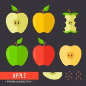 Apple set Red yellow and green apples Modern flat icons Vector illustration