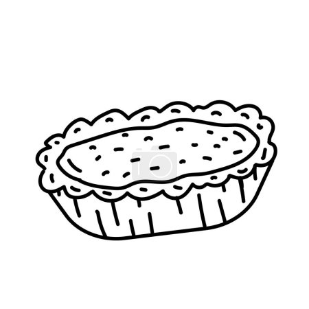 Egg Tart Icon. Doodle Hand Drawn or Black Outline ...