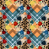 Scottish tartan grunge seamless pattern with leopard skin spots and colorful flowers  eps 10