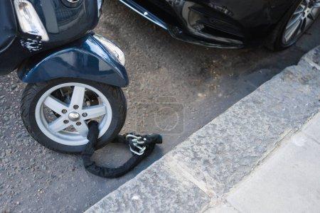 Moped wheel on lock