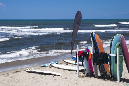 Colorful boats and surfboards on beach