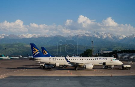 Photo for Almaty, Kazakhstan September 27, 2017, commercial aircraft parked at Almaty International Airport. Kazakhstan - Royalty Free Image