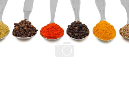 Indian Spices in Spoons Also Know as Red Chilli Powder, Black Pepper, Turmeric Powder, Coriander Powder, Cumin, Cloves, Mirchi, Mirch, Laal Mirchi, Haldi, Dhaniya Powder, Jeera, Kali Mirch or Lavang.