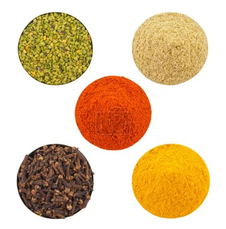 Indian Colorful Spices in Bowl Red Chilli Powder, Turmeric Powder, Coriander Powder, Cloves, Green Fenugreek Seeds, Mirchi, Haldi, Dhaniya Powder, Laung or Lavang Isolated on White Background