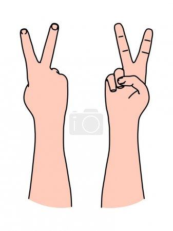 Illustration pour Lettre V par deux doigts comme symbole de victoire et signe de paix, numéro 2, liberté, forme en V - image libre de droit
