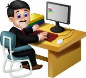 Employee Work In Front Of Computer Cartoon For Your Design