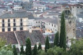 elevated view of old town with authentic buildings and greenery