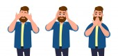 Man covering eyes ears and mouth with hands as looking like the three wise monkeys Don't see don't hear and don't speak concept illustration in vector cartoon style