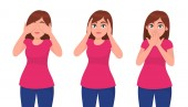 Set of young woman closing/covering her eyes ears and mouth like the three wise monkeys Do not see hear and speak concept Human emotion and body language concept illustration in vector cartoon
