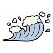 hand drawn doodle style cartoon wave crashing