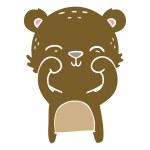 Happy flat color style cartoon bear...