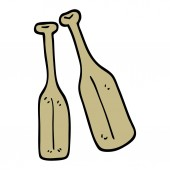 hand drawn doodle style cartoon pair of paddles