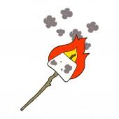 flat color illustration of marshmallow on stick