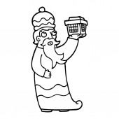 one of the three wise men black and white cartoon