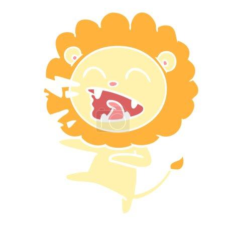 Flat color style cartoon roaring lion...