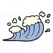 comic book style cartoon wave crashing