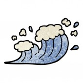 grunge textured illustration cartoon wave crashing