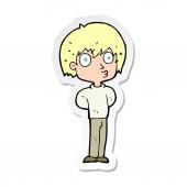 sticker of a cartoon impressed boy