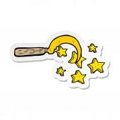 sticker of a cartoon magic druids sickle