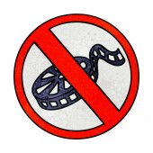 retro grunge texture cartoon no movies allowed sign