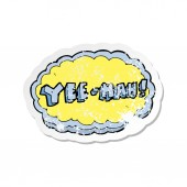 retro distressed sticker of a cartoon yeehah symbol