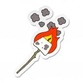 sticker of a cartoon marshmallow on stick